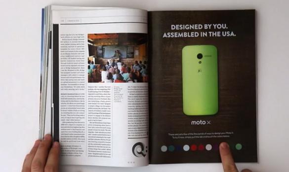 Moto X interactive print ad