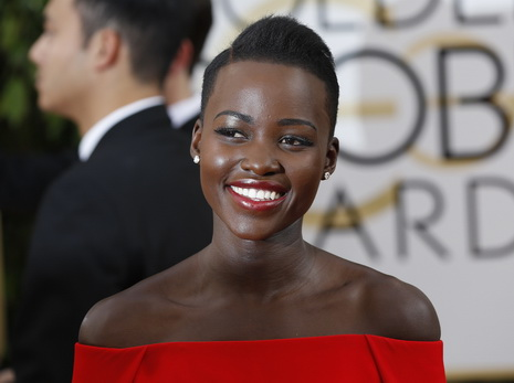 Actress Lupita Nyong'o arrives at the 71st annual Golden Globe Awards in Beverly Hills