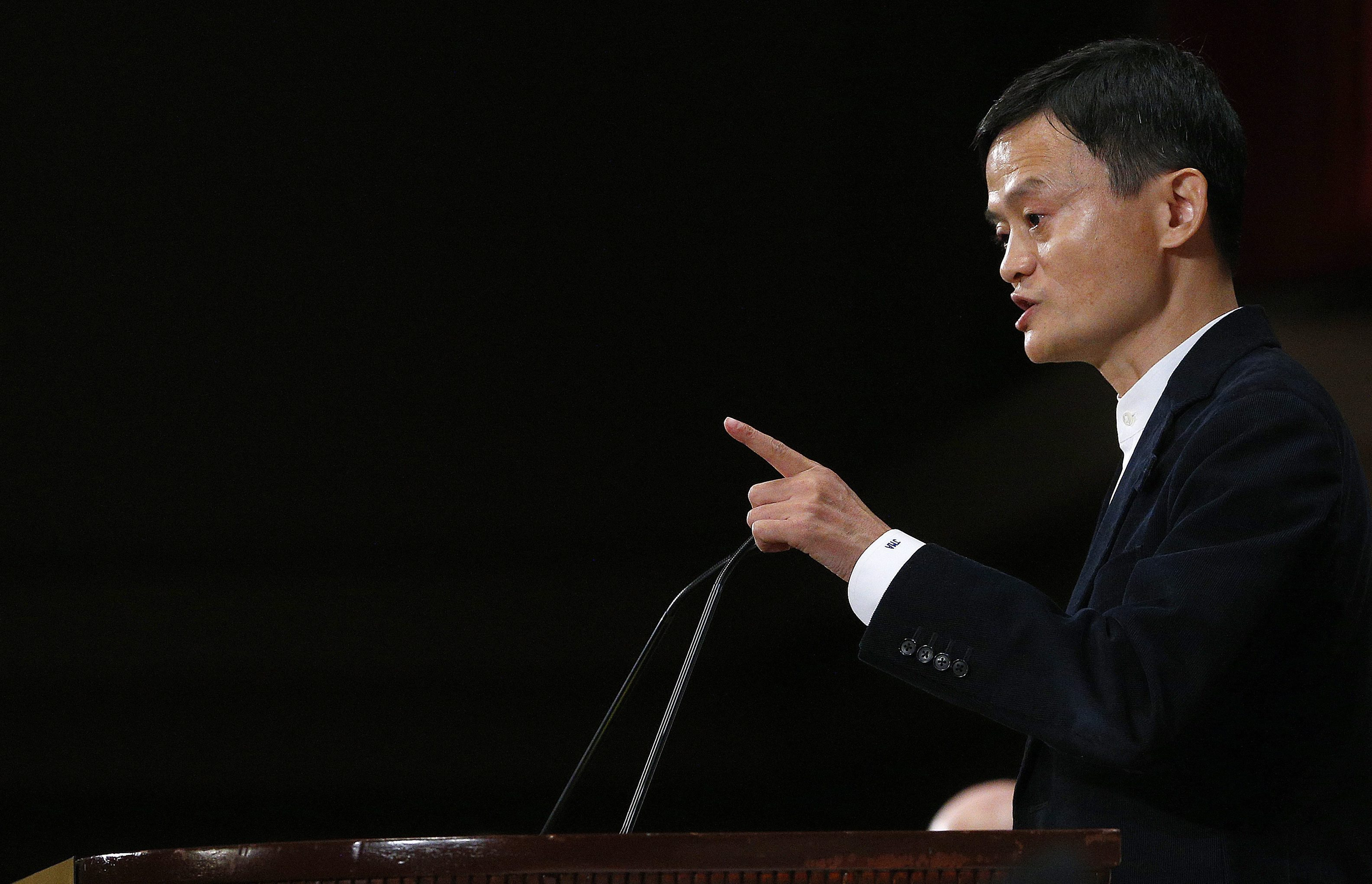 epa04790941 Alibaba founder and executive chairman, Jack Ma, speaks at The Economic Club of New York, in New York, New York, USA, 09 June 2015. EPA/ANDREW GOMBERT